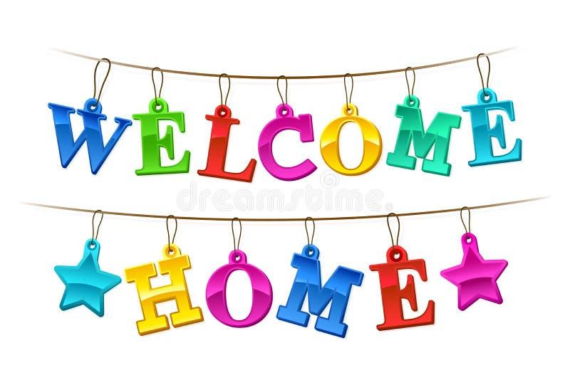 Bannière à la maison bienvenue colorée avec des étiquettes illustration de vecteur