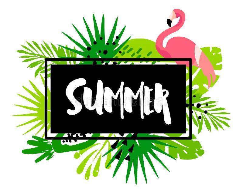 Bannière à la mode d'été avec les palmettes, le flamant, les plantes tropicales et le texte dans le cadre sur le fond blanc Conce illustration stock