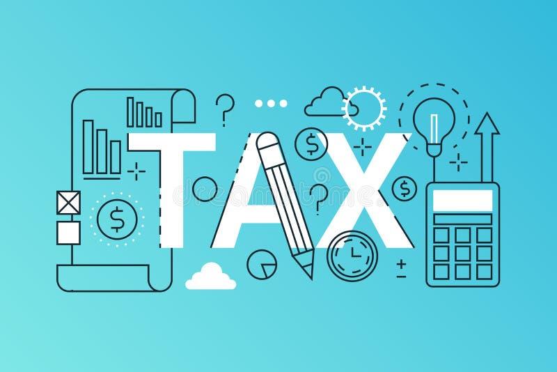 Bannière à la mode de composition en mot d'impôts Décrivez les paiements d'impôts de course, loi financière consultant, rembourse illustration de vecteur