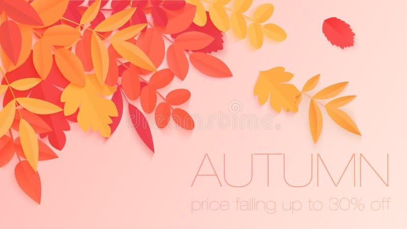Bannière à la mode de vente d'automne avec les feuilles d'automne lumineuses de couleur de style de papier pour la conception, l' illustration stock