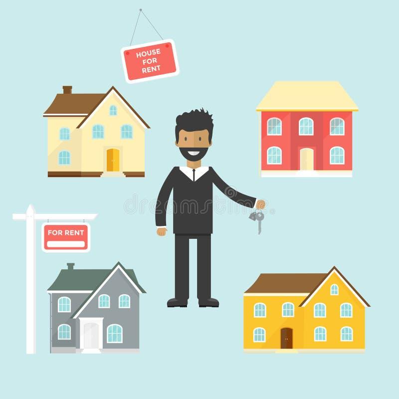Bannière à vendre, maison de la publicité, cottage, agent avec des clés illustration stock