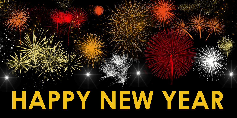 Bannière éclatante de salutation de feux d'artifice brillants d'étoiles de bonne année photos libres de droits