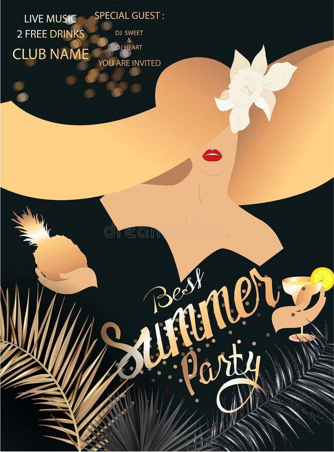 Bannière élégante de la meilleure partie d'été avec les feuilles tropicales, la poussière d'or et la fille dans un chapeau énorme illustration stock