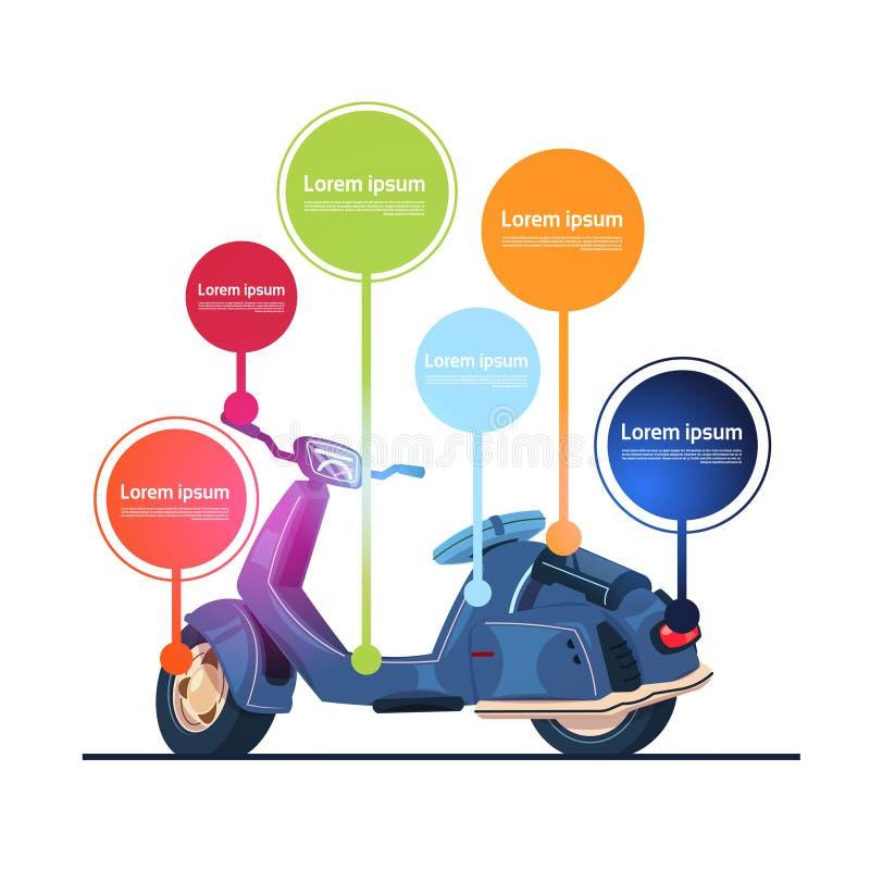 Bannière électrique de vélomoteur d'éléments d'Infographic de calibre de scooter de vintage illustration libre de droits