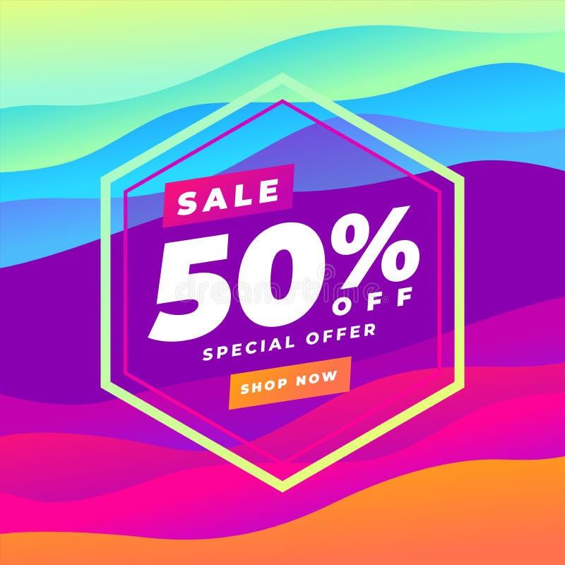 bannière abstraite colorée de courbe de vente au rabais de 50 pour cent Gradient de tendance Le fluide forme la composition illustration stock