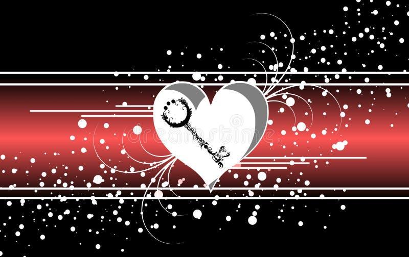 Bannière abstraite d'amour sur le noir illustration libre de droits