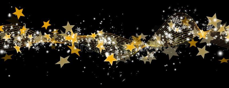 Bannière abstraite de panorama avec les starlettes et les particules d'or illustration de vecteur
