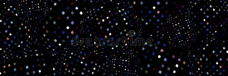 Bannière abstraite de sphères noires dynamiques de la mosaïque 3d Fond géométrique créatif futuriste Papier peint à la mode de mi illustration stock