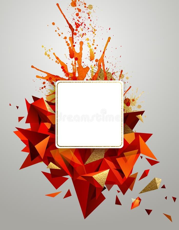Bannière abstraite géométrique avec la texture lumineuse de couleur rouge et d'or Triangulaire moderne constitué par les taches a illustration stock
