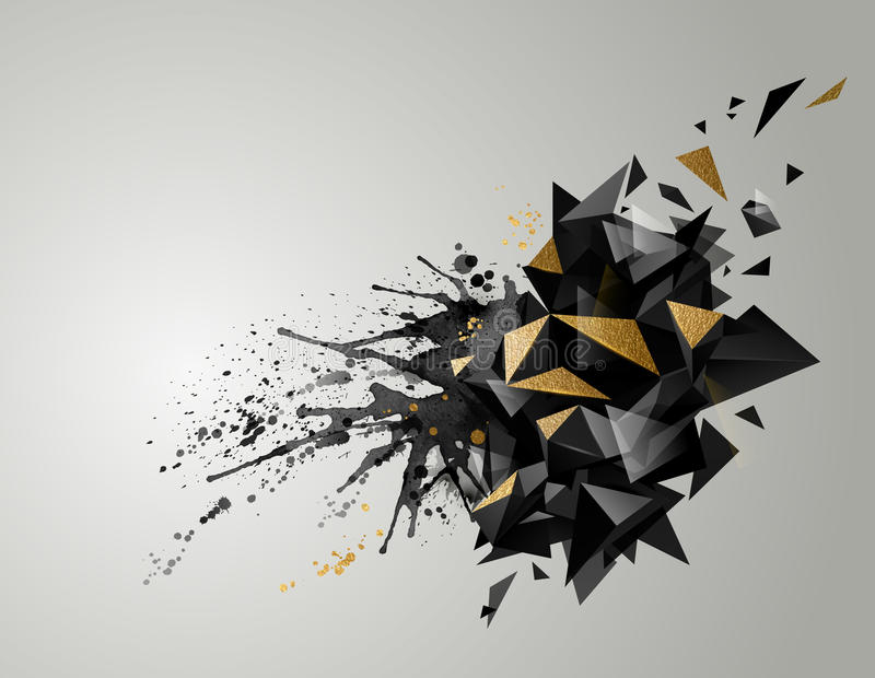 Bannière abstraite géométrique avec la texture noire de couleur et d'or Triangulaire moderne constitué par les taches artistiques illustration stock