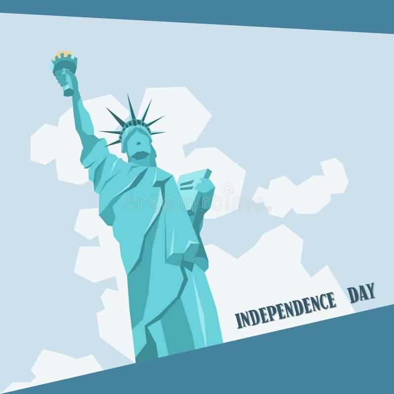 Bannière américaine de vacances de Liberty Statue Happy Independence Day Etats-Unis illustration de vecteur
