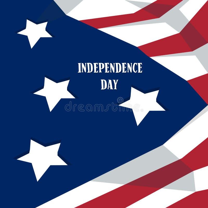 Bannière américaine de vacances des Etats-Unis de Jour de la Déclaration d'Indépendance heureux illustration libre de droits