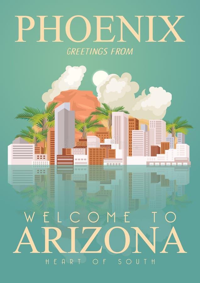 Bannière américaine de voyage de l'Arizona Affiche d'état de canyon grand illustration de vecteur