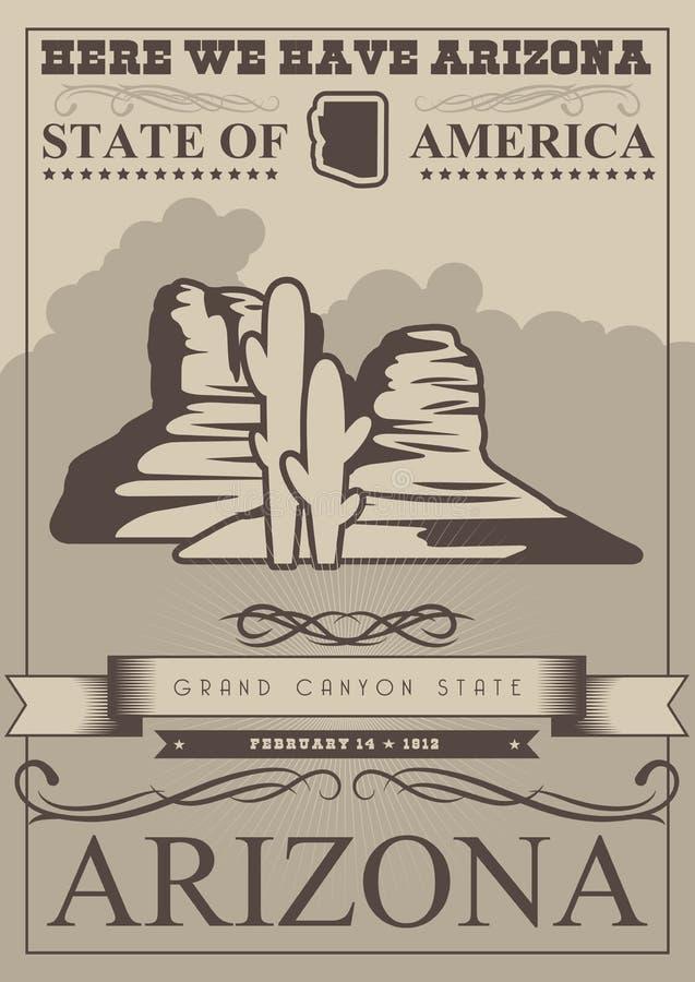 Bannière américaine de voyage de l'Arizona Carte d'état de canyon grand illustration libre de droits