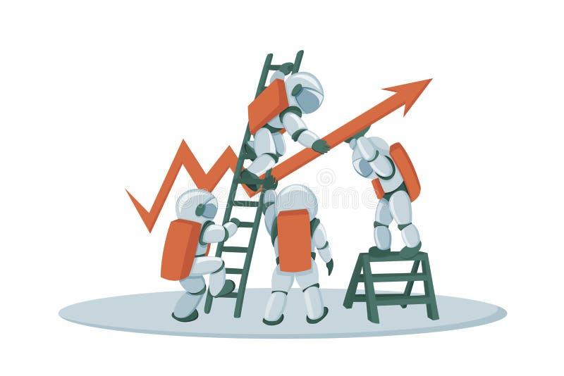 Bannière anticipée de concept d'investissement productif avec des caractères d'astronautes illustration stock