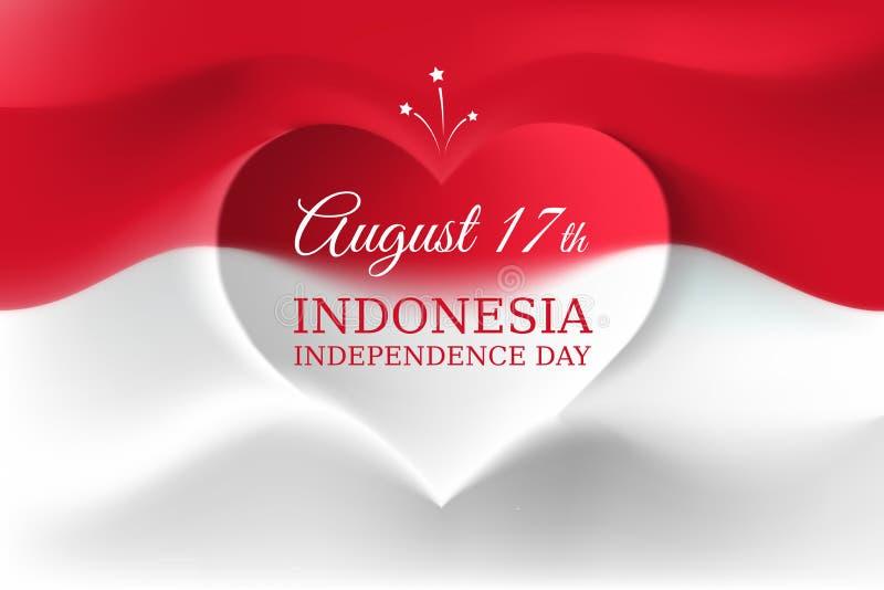 Bannière 17 août, Jour de la Déclaration d'Indépendance Indonésie, drapeau indonésien de calibre de vecteur avec la forme de coeu illustration stock