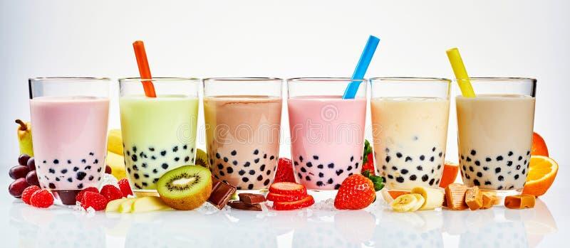Bannière asiatique de la publicité de maison de thé des thés de boba photos libres de droits