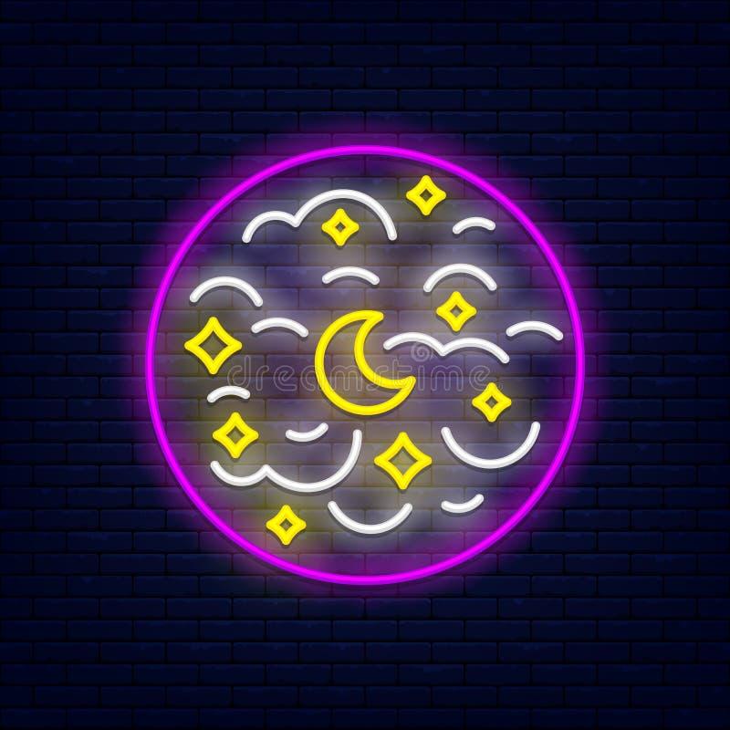 Bannière au néon de ciel nocturne illustration stock