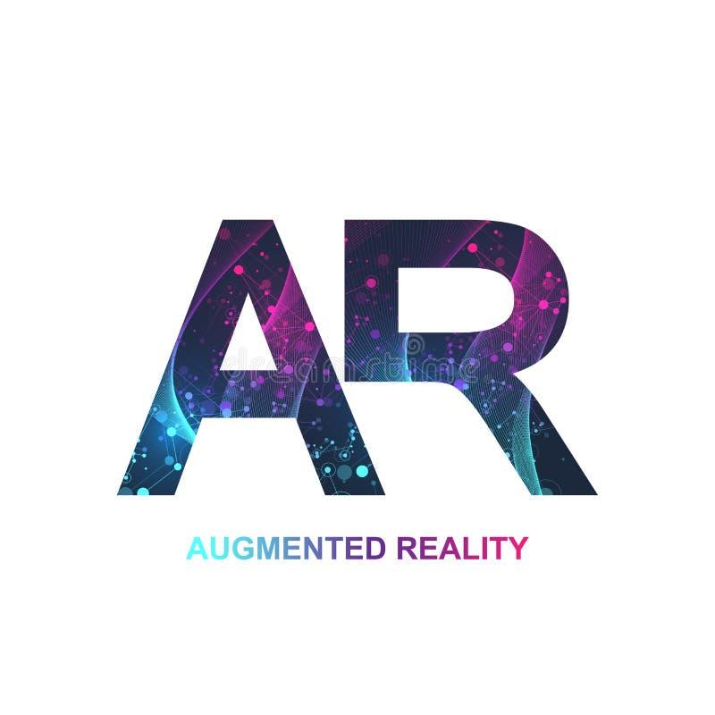 Bannière augmentée de concept de réalité, AR Réalité virtuelle et logo augmenté de réalité Concept moderne de la science fiction  illustration stock