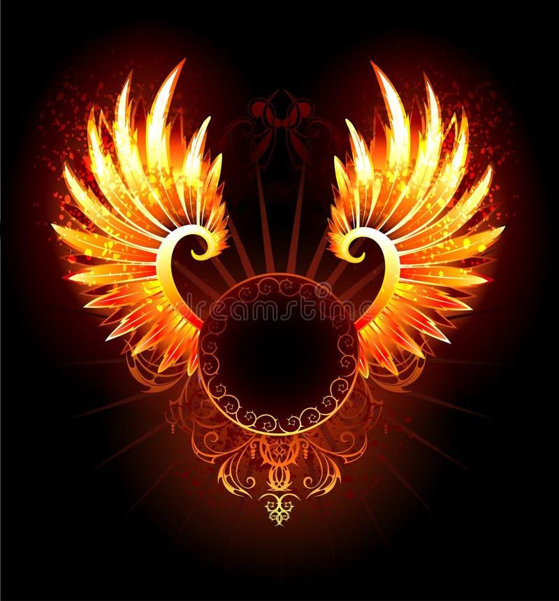 Bannière avec des ailes Phoenix illustration de vecteur