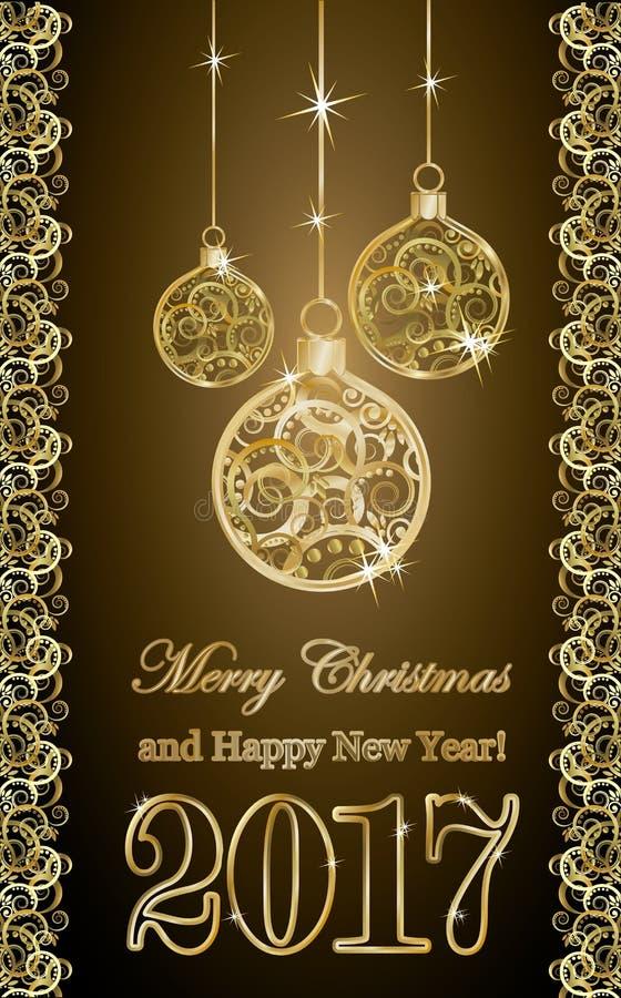 Bannière 2017 avec des boules de Noël, vecteur d'or de nouvelle année illustration libre de droits