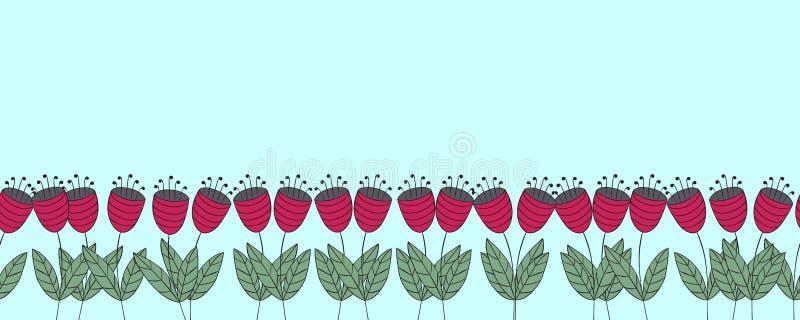 Bannière avec des fleurs Frontière sans couture de campanules plates rouges illustration libre de droits
