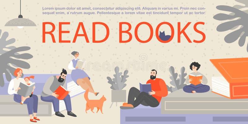 Bannière avec des personnes s'asseyant sur les livres énormes et la lecture Les personnes de différents âges sont passionnées au  illustration stock