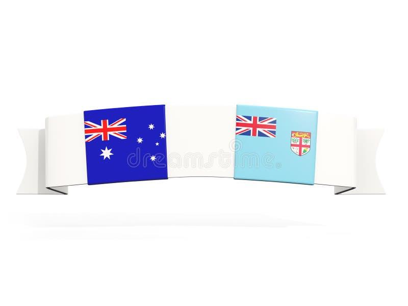 Bannière avec deux drapeaux carrés de l'Australie et du Fiji illustration libre de droits