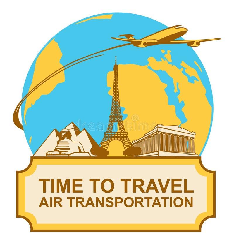 Bannière avec l'avion, les points de repère et la terre de planète illustration libre de droits