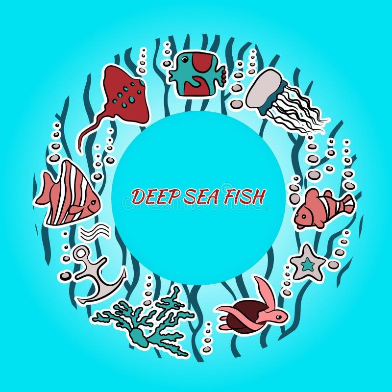Bannière avec l'endroit de poissons pour le texte illustration de vecteur