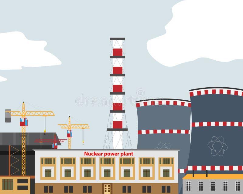 Bannière avec la centrale nucléaire, station thermique R?acteur nucl?aire illustration de vecteur