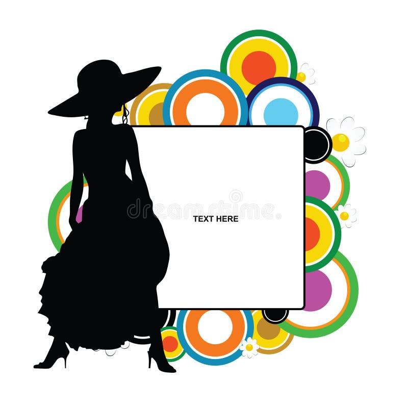 Bannière avec la fille jolie là-dessus illustration de silhouette illustration libre de droits