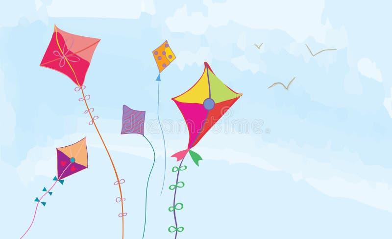 Bannière avec le ciel, les cerfs-volants et les oiseaux horizontaux illustration libre de droits