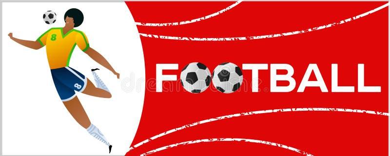 Bannière avec le footballeur illustration de vecteur