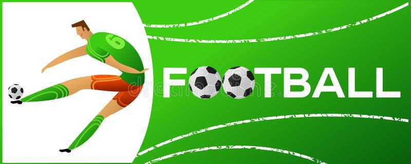 Bannière avec le footballeur illustration libre de droits