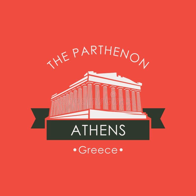Bannière avec le parthenon d'Athènes, point de repère grec illustration de vecteur