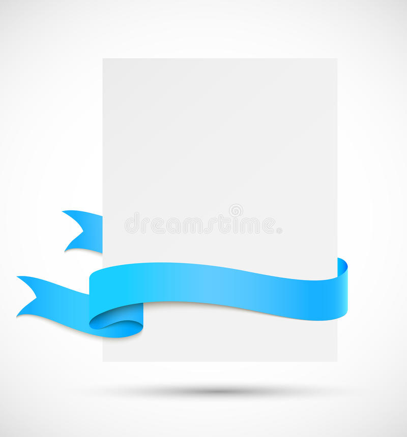 Bannière avec le ruban bleu illustration de vecteur