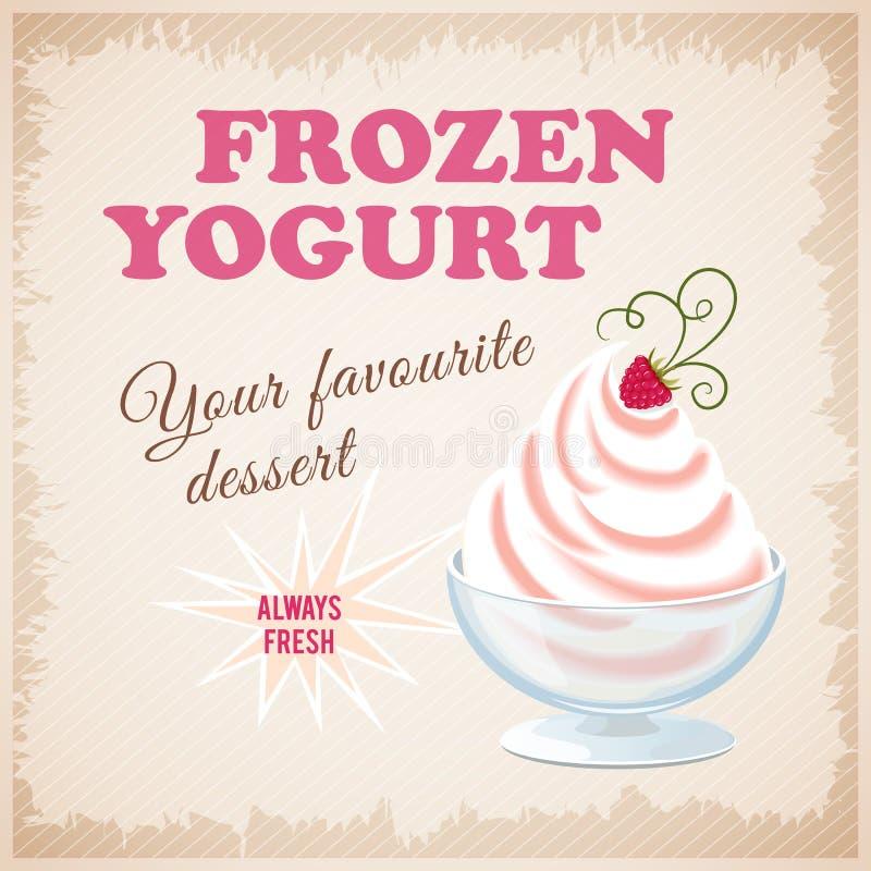 Bannière avec le yogourt glacé de fraise illustration stock