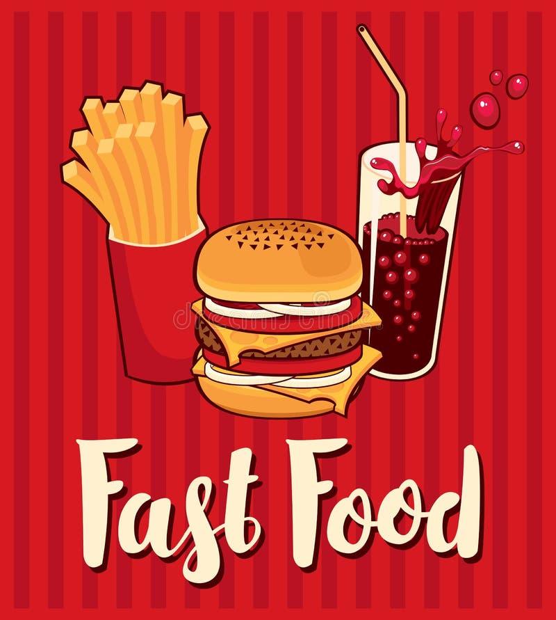 Bannière avec les aliments de préparation rapide avec le kola illustration stock