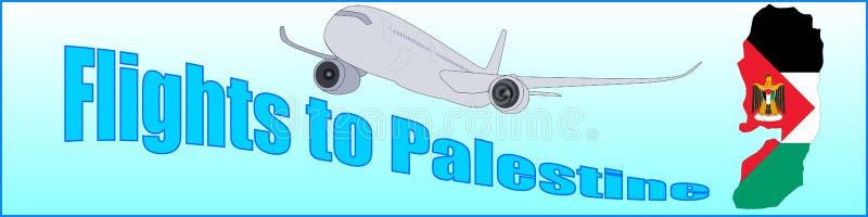Bannière avec les vols d'inscription vers la Palestine illustration de vecteur