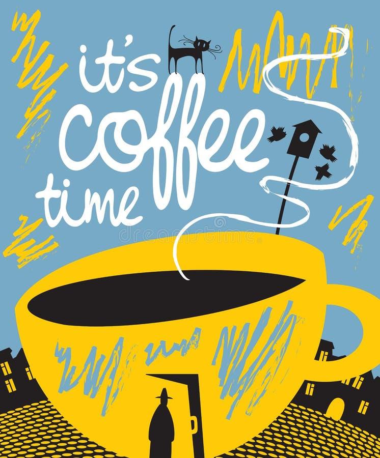 Bannière avec une tasse de café dans une porte et un passant illustration stock