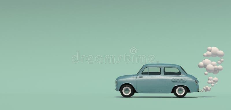 Bannière avec voiture bleue de passager une rétro avec un gaz d'échappement dans un style de bande dessinée D'isolement sur un fo illustration libre de droits
