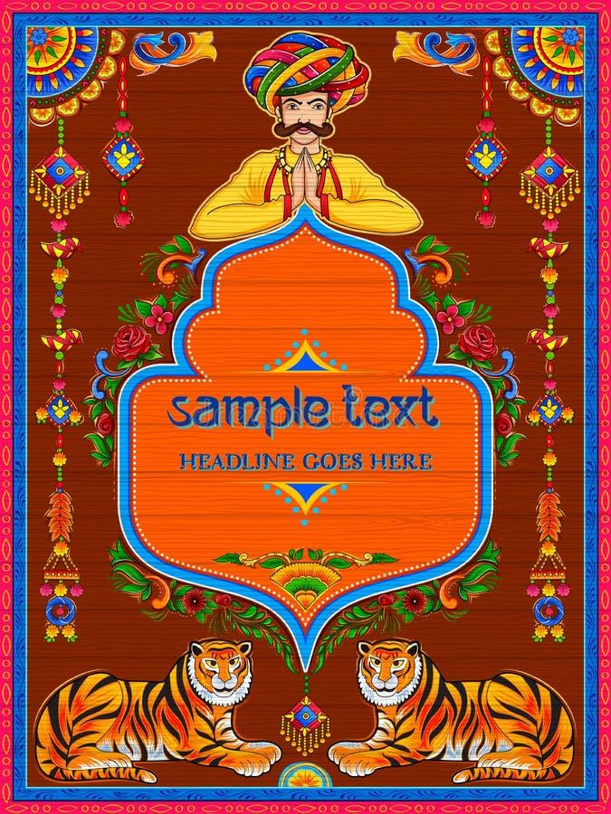 Bannière bienvenue colorée dans le style de kitsch d'art de camion de l'Inde illustration libre de droits