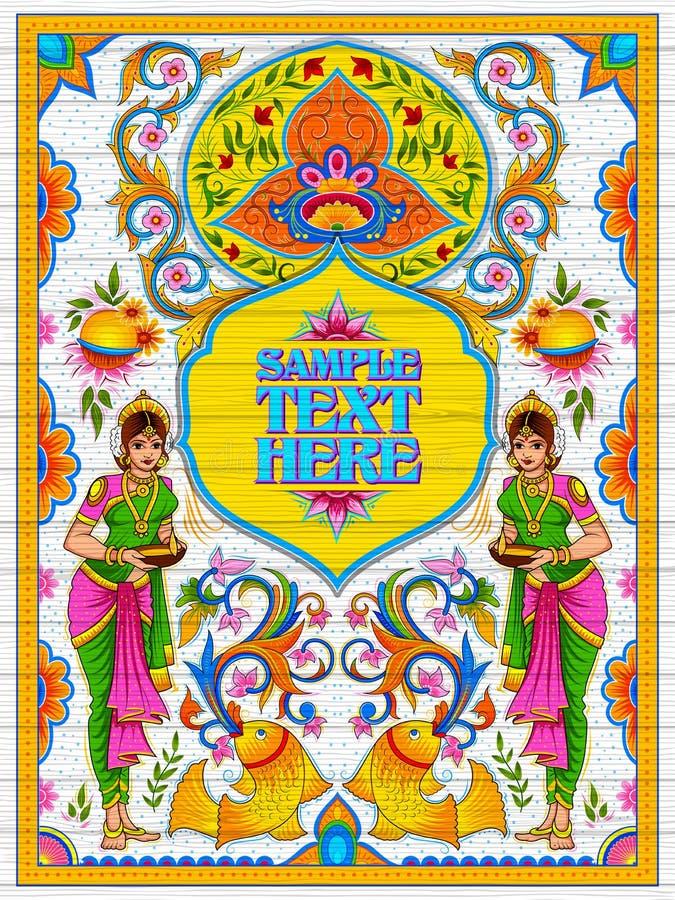 Bannière bienvenue colorée dans le style de kitsch d'art de camion de l'Inde illustration stock
