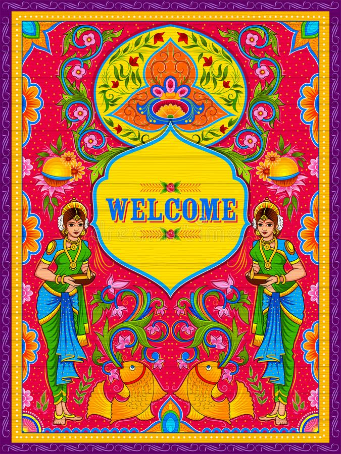 Bannière bienvenue colorée dans le style de kitsch d'art de camion de l'Inde illustration de vecteur
