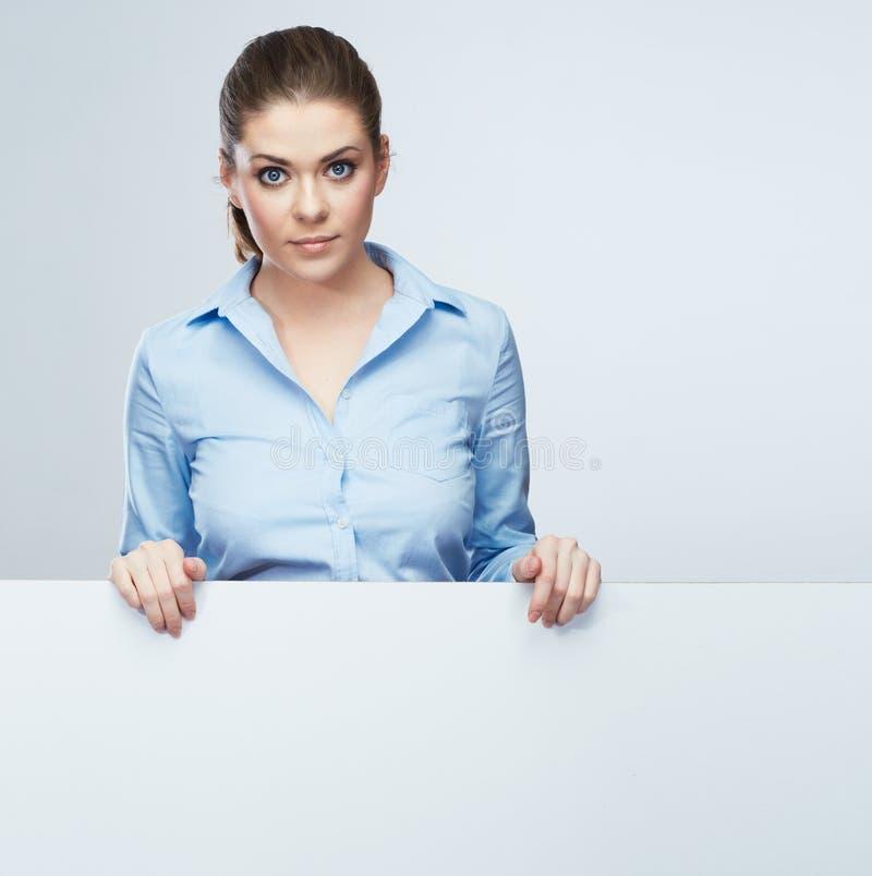 Bannière blanche de blanc de femme d'affaires, portrait de studio de carte photo stock