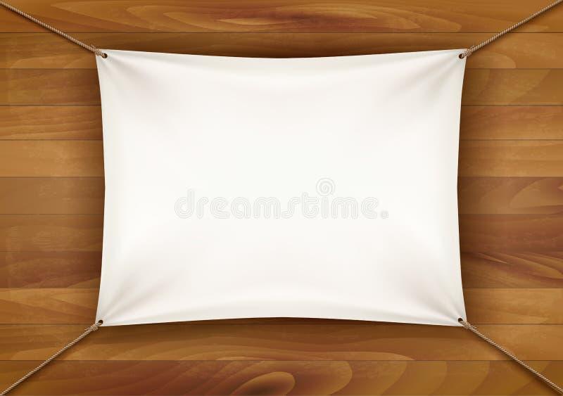 Bannière blanche de tissu avec l'espace des textes sur le fond en bois illustration libre de droits