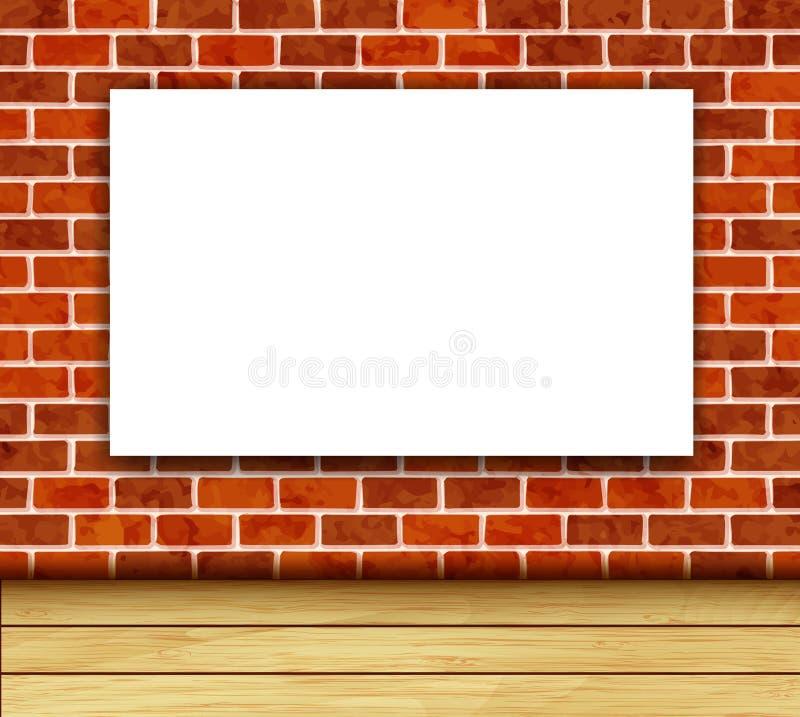 Bannière blanche sur le vecteur de mur de briques illustration libre de droits