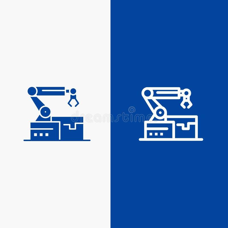 Bannière bleue automatisé, robotique, de bras, de ligne de technologie et de Glyph d'icône solide de bannière d'icône solide bleu illustration de vecteur