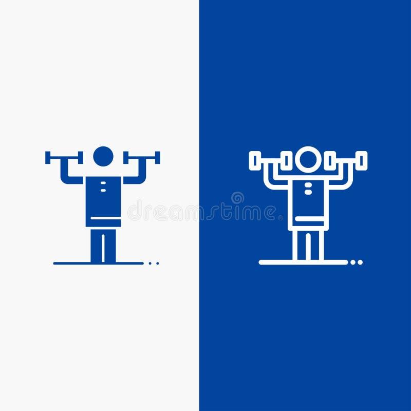 Bannière bleue d'activité, de discipline, humaine, physique, de force de ligne et de Glyph d'icône solide de bannière d'icône sol illustration stock